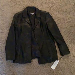 Black Leather Calvin Klein Jacket